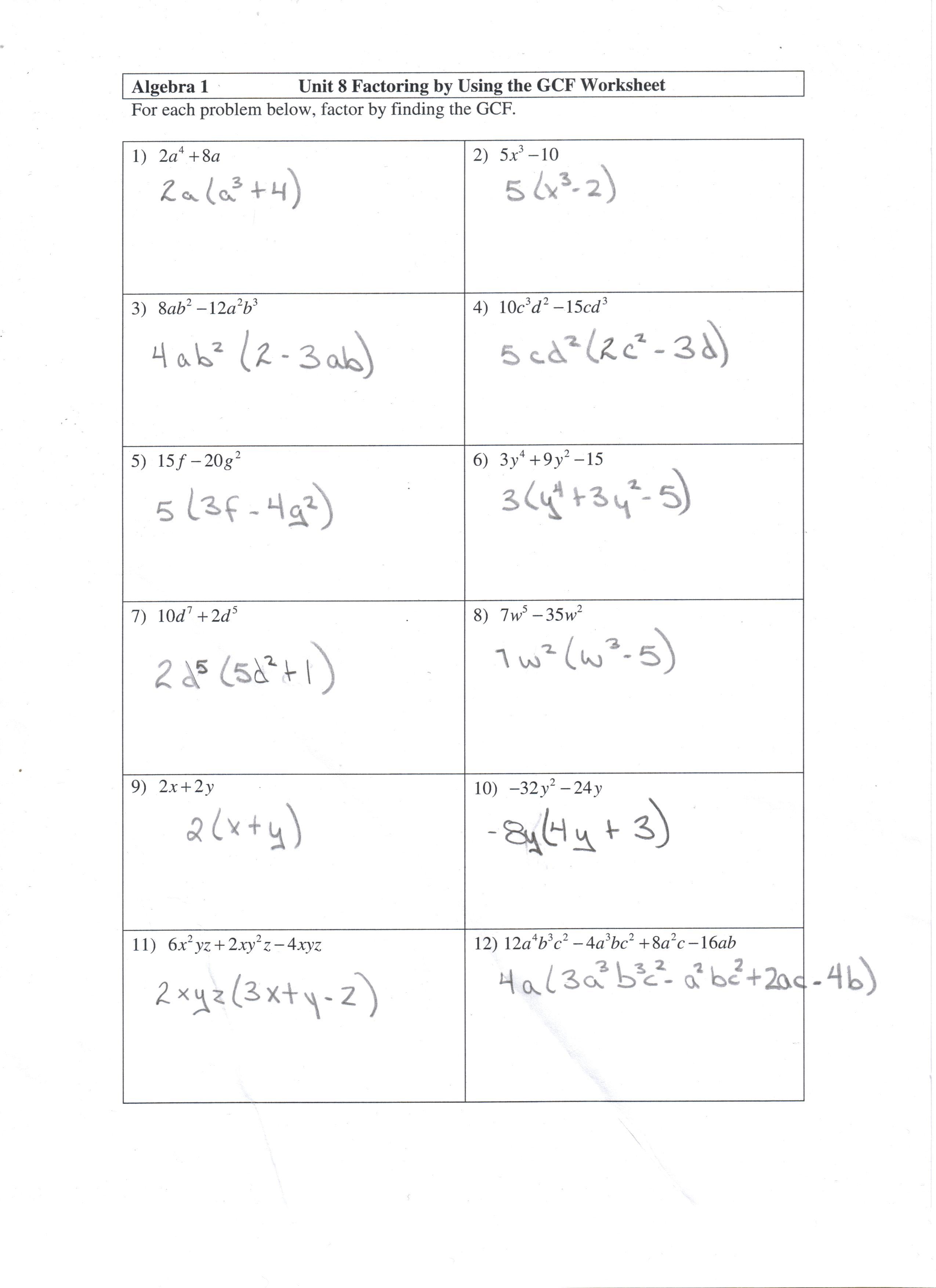 Factoring GCF worksheet and answers - Math 10